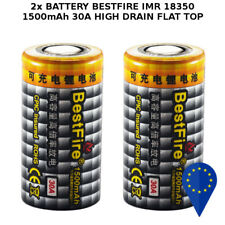 2x BATTERY BESTFIRE IMR 18350 1500mAh 30A 3.7v LITHIUM RECHARGEABLE BATTERIA