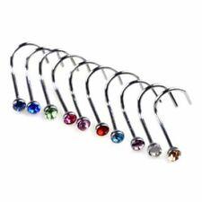 Body Piercing Hook Bone Bar Pin Jewelry Rhinestone Nose Studs Rings Trendy Steel