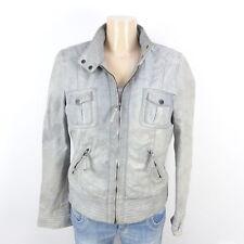 Oakwood Veste en cuir leather jacket gris taille XL 42 (bi131)