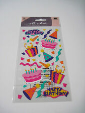 Scrapbooking Crafts Stickers Sticko Happy Birthday Bright Pink Purple Cakes Hats