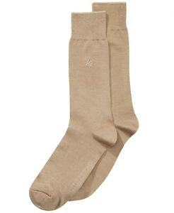 Perry Ellis Mens Rayon Embroiled Crew Dress Socks 1 Pair Khaki Size 7-12 NEW $20