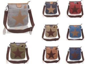 Women Canvas Star Pattern Small Crossbody Bag/Fashion Messenger Shoulder Handbag