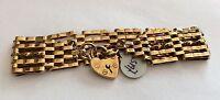 Ladies Fabulous Very Heavy Vintage 9ct Gold Five Bar Gate Bracelet With Padlock