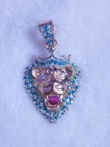 King Lion head pendant with Diamond and Topaz blue 14ct Rose Gold Plated
