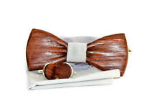 Mens wooden bow tie with pocket square and cufflinks. Handmade wooden bow tie.