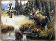 Moose Hunter Wall Clock  Makes Great Gifts