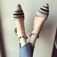 Women Chunky Heels Pointy Toe Ankle Strap Shallow Mouth Pumps Shoes Multi Color