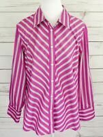 Jones New York Top Womens 2X Pink Striped Button Long Sleeve Collar Cotton Plus