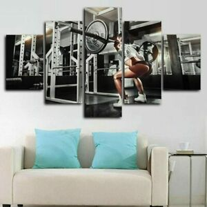 Fit Girl Squat Gym Workout 5 Pieces Canvas Wall Art Print Painting Home Decor
