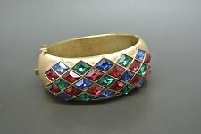 VINTAGE 60s CROWN TRIFARI JEWELS of India Verde Rosso Strass Bracciale Polsino