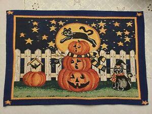 "VTG 90's Retro Halloween Decor: 19"" Cloth Placemats set of 4 RARE - EUC"