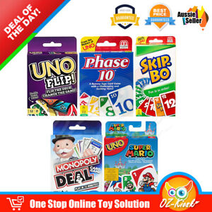 UNO Flip Phase 10 Skip Bo Super Mario Monopoly Deal Rummy Family Party Card Game