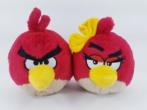 """Angry Birds Plush 5"""" Red Bird Toy & Female Red bird - No Sound - FREE SHIPPING"""