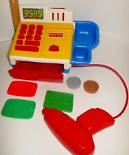 RARE HTF Vintage Fisher Price Cash Register With Coins & Charge Card Works Sound