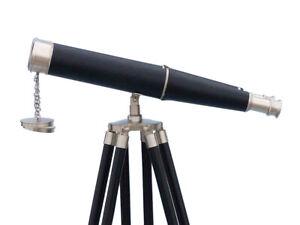 Floor Standing Admirals Bronzed Nickel With Leather Binoculars 18 Inch