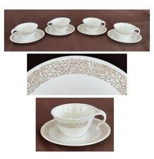 Vintage Corelle Dinnerware Set Woodland Brown Cups and Saucers 8-Piece Set