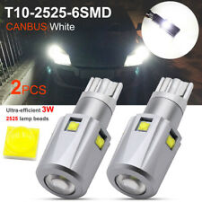 2X T10 LED 2525 6SMD Canbus 1200LM W5W 194 168 White Car Wedge Side Light Bulb