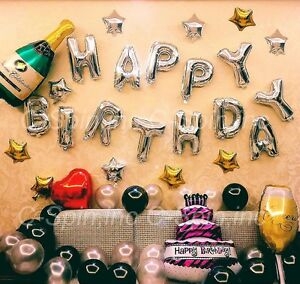 DIY Happy Birthday Set Foil Letter Number Latex Balloon Star Heart Party Decor