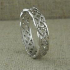 14K White Celtic Knot Wedding Ring Irish Made Size 8 FADO made Ireland