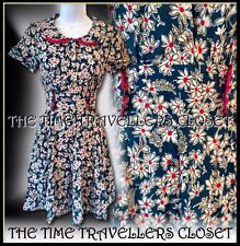 Topshop Kate Moss Iconic Floral Peter Pan Tea Dress 40s Landgirl Vintage UK 6 8