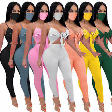 Summer Sexy Women V Neck Hollow Out Spaghetti Strap Solid Skinny Jumpsuit Club