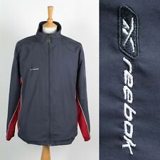 MENS REEBOK 90'S 00'S TRACKSUIT JACKET TOP GREY AND RED Y2K SPORTS GYM L