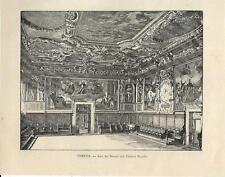 Stampa antica VENEZIA Palazzo Ducale Sala del Senato 1892 Old Print VENICE