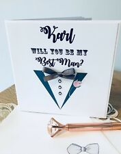 Card for Best man Groomsman or Pageboy Tuxedo Design with Personalised Envelope