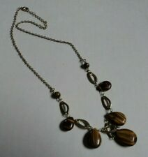 "18"" gold tone acrylic teardrop stones necklace"