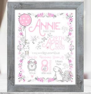 Rabbit Personalised New Baby Girl Gift, Christening Baptism Baby Birth Print