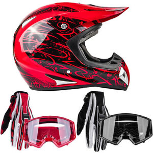 Adult Red Motocross Helmet Combo With Gloves Goggles DOT