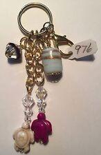 Sea Turtle Howlite Purse Charm Key Chain FOB gold handmade USA 976