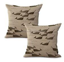 Us Seller-Set of 2 marine nautical whale animal cushion cover decor pillows chea