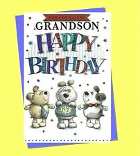 "Grandson Birthday Card LARGE 9""x6"" Simon Elvin Cute Teddy Bear Male Mens"