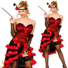 Ladies Red Wild West Showgirl Saloon Girl Burlesque Fancy Dress Costume