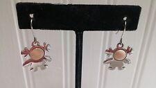 Agatha Silvertone Metal Peach Face Little Girl Drop Dangle Wire Pierced Earrings