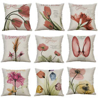 18 Printing tulip flower shell Pillow Case Cotton Linen Cushion Cover Home Decor