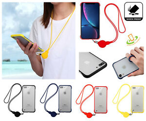For iPhone XS Max XR 8 7 PLUS Hybrid Slim Rubber Case Lanyard Neck Strap Cover