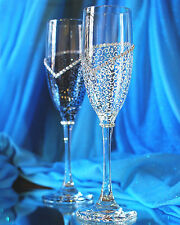 Personalized Wedding Champagne Glasses,Wedding Toasting Flutes, Set of 2