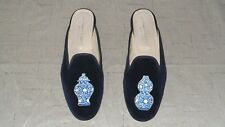 "SO CUTE! Women's $450 Stubbs and Wootton Velvet ""FAMILLE"" Mules Slippers Shoes"