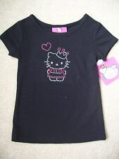 Girls Hello Kitty Black T-Shirt Top with Short Sleeves Size 2T NWT