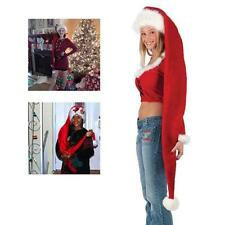 Red Extra Long Santa Hat With White Fur Trim Christmas Party Hat Fancy Dress FI