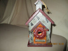 Very Cute Tii Collections Wood And Tin Bird House With Flowers! Must See!