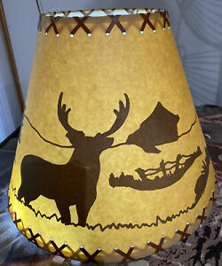 """DEER BUCK LAMP SHADE Cabin SILHOUETTE 11.25"""" Tall inch Laced Pine trees Faux"""