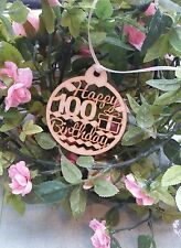 Happy 100th Birthday Wooden Gift Tag
