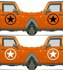 Set of 2 America US U.S. Army Distressed Star Vinyl Decal Sticker Dodge & Ram V9