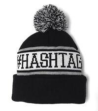 #HASHTAG HASHTAG POM BEANIE Black Twitter Instagram Winter Knit Men/Women/Teen