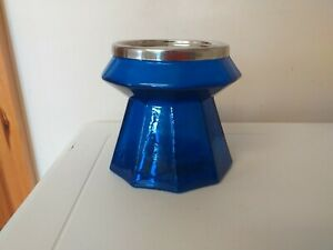 NICE ITEM...BLUE GLASS...CANDLE STAND...CANDLE HOLDER...STEEL TOP...IKEA...GLASS