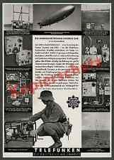 Or. publicité telefunken zeppelin LZ 129 avionique funk télécommunications 1936