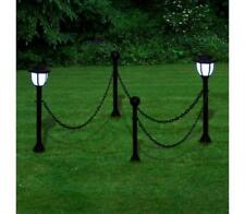 Chain Fence 2 Solar LED Lights Lamp Posts Driveway Garden Path Walkway Border